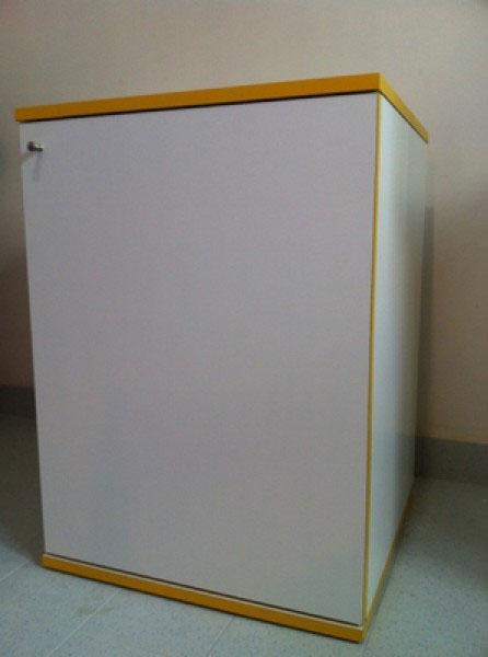 Mobile 55x55x75h bianco cornice gialla for Mobile per acquario